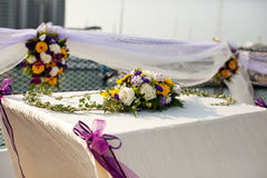 Wedding table flower settings in yacht Royalty Free Stock Photo