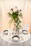 Wedding table and flowers Royalty Free Stock Image