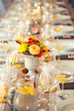 Wedding table. Flowers arrangement bouquets as decoration for wedding Royalty Free Stock Image
