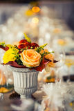 Wedding table. Flowers arrangement bouquets as decoration for wedding Royalty Free Stock Photo