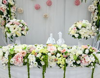 Wedding table. With flowers arrangements Stock Photography