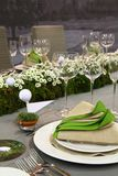 Wedding table with flowers Royalty Free Stock Image