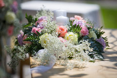 Wedding Table Flowers Stock Photo