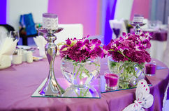 Wedding table with flowers Royalty Free Stock Images