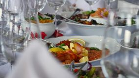 Wedding Table with food. On celebrate stock video