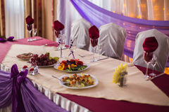 Wedding table with food. Empty glasses, wedding ceremony stock photography