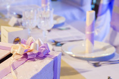 Wedding table with gift box Royalty Free Stock Images