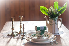 Wedding table with gift Royalty Free Stock Images