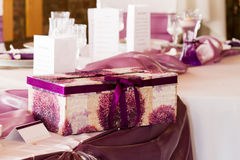 Wedding table with giftbox Royalty Free Stock Photography