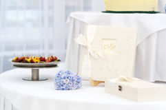 Wedding table with a guest book Stock Photos
