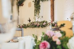 Wedding table for guests before ceremony royalty free stock photos