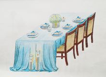 Wedding table. Hand draw on a white paper Royalty Free Stock Images