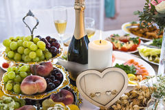 Wedding table with heart-shaped decoration Royalty Free Stock Images