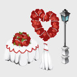 Wedding table, lamp and bouquets of roses Stock Image