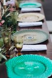 Boho wedding table for a newlywed banquet. Wedding table for a newlywed banquet with eco decor and floral design in the style of boho stock photos