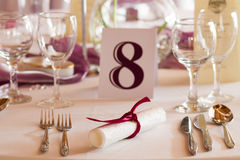 Wedding table with number eight Royalty Free Stock Images