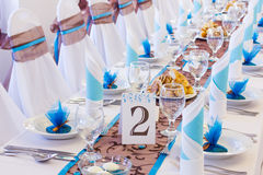 Wedding table with number two royalty free stock image