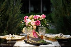 Wedding table on open air. Detail of the wedding table on open air Stock Photo
