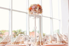 Wedding table with ornaments Royalty Free Stock Images