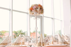 Wedding table with ornaments Royalty Free Stock Photos