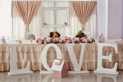 Wedding table with ornaments Stock Photography