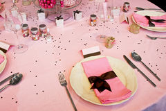 Wedding table pink Royalty Free Stock Image