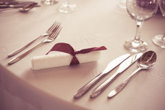 Wedding table place setting cutlery Stock Photos
