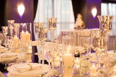 Wedding Table Place with Silver Goblets and chrystal glassware royalty free stock image