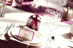 Wedding table purple Stock Images