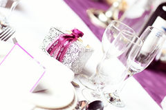 Wedding table purple Royalty Free Stock Photos