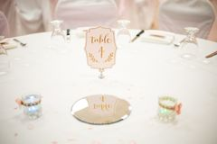 Wedding table ready for dinner royalty free stock photo