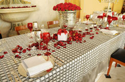 Wedding Table with Red Roses Royalty Free Stock Photo