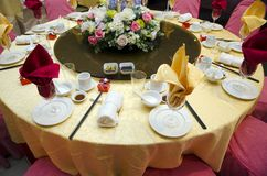 Wedding table in a restaurant Royalty Free Stock Images