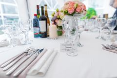 Wedding Table with Seats for Bride and Groom. Empty Glass Stock Photography