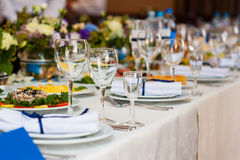 Wedding table served and decorated in a restaurant Royalty Free Stock Image