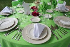 Wedding table set. Green and pink wedding table set Royalty Free Stock Images