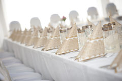 Wedding table set. Table setting before a wedding Stock Images