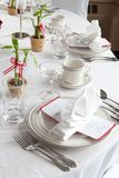 Wedding table set with bamboo Royalty Free Stock Photos