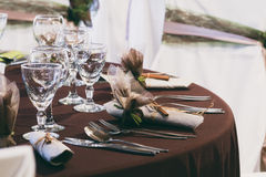 Wedding table set with decoration Royalty Free Stock Photography