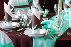 Wedding table set with decoration for fine dining or another catered event Stock Images