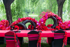 Wedding table. Set for dining,outdoor wedding scene Stock Image