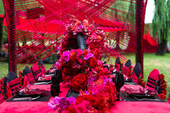 Wedding table. Set for dining,outdoor wedding scene Royalty Free Stock Photography