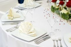 Wedding Table Set for Dinner Royalty Free Stock Images