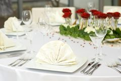 Wedding Table Set for Dinner Stock Photography
