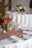 Wedding table set for fine dining Royalty Free Stock Photos