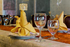 Wedding table set for fine dining another catered event Royalty Free Stock Photos