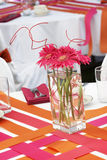 Wedding table set for fun dining during a banquet event - lots o Royalty Free Stock Image