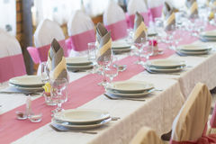 Wedding table set Royalty Free Stock Photo