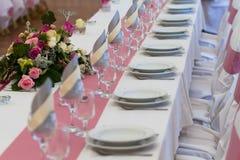 Wedding table set Royalty Free Stock Image