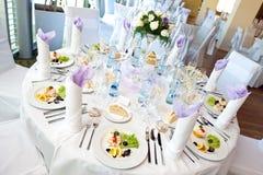 Wedding table setting stock image